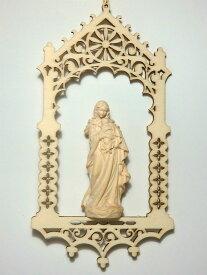 《レーピ》欧州教会使用創業100年 木彫りブランド『ポプラ材 つり飾り』ミニ木彫り 聖母マリア像「 ルネサンス 」白木仕上げ高さ16cm(お像7cm)保証書付【イタリア】