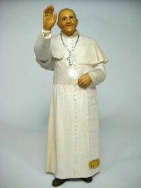 《レーピ》欧州教会使用創業100年木彫りブランド木彫り 聖人ローマ教皇・法王「フランシスコ」カラー仕上げ(手彩色)高さ 12cm 保証書付【イタリア】