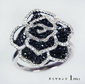 魅惑のスパイス♪大きな黒薔薇!1.00ct!ブラックダイヤxホワイトゴールド!K18WGダイヤモンド1.00ctリング!【受注生産】