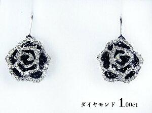 【受注生産】魅惑のスパイス♪大輪の黒薔薇1.00ctが揺れる!ブラックダイヤxホワイトゴールド!K18WGダイヤモンド1.00ctジプシーピアス!