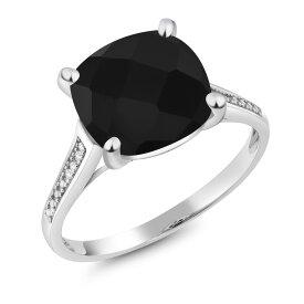 Gem Stone King 3.6カラット 天然ブラックオニキス 10金 ホワイトゴールド(K10) 天然ダイヤモンド 指輪 リング レディース 大粒 一粒 シンプル マルチストーン 天然石 誕生石 金属アレルギー対応 誕生日プレゼント