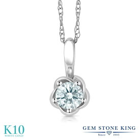 Gem Stone King スワロフスキージルコニア (無色透明) 10金 ホワイトゴールド(K10) ネックレス ペンダント レディース CZ 小粒 フラワー シンプル 金属アレルギー対応 誕生日プレゼント