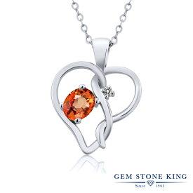 Gem Stone King 0.56カラット 天然 オレンジサファイア 天然 ダイヤモンド シルバー925 ネックレス ペンダント レディース シンプル 天然石 9月 誕生石 金属アレルギー対応 誕生日プレゼント