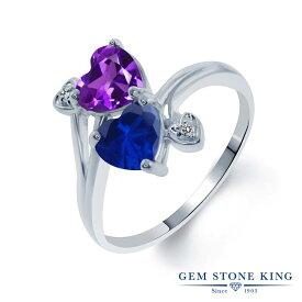 Gem Stone King 1.48カラット 天然 アメジスト シミュレイテッド サファイア 天然 ダイヤモンド シルバー925 指輪 リング レディース ダブルストーン 天然石 2月 誕生石 金属アレルギー対応 誕生日プレゼント