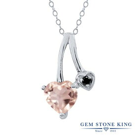 Gem Stone King 0.71カラット 天然 ローズクォーツ 天然ブラックダイヤモンド シルバー925 ネックレス ペンダント レディース シンプル 天然石 金属アレルギー対応 誕生日プレゼント
