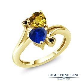 Gem Stone King 1.53カラット 天然 シトリン シミュレイテッド サファイア 天然ブラックダイヤモンド シルバー925 イエローゴールドコーティング 指輪 リング レディース ダブルストーン 天然石 11月 誕生石 金属アレルギー対応 誕生日プレゼント