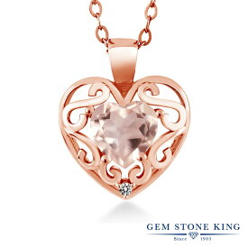 Gem Stone King 0.71カラット 天然 ローズクォーツ 天然 ダイヤモンド シルバー 925 ローズゴールドコーティング ネックレス ペンダント レディース シンプル 天然石 金属アレルギー対応 誕生日プレゼント