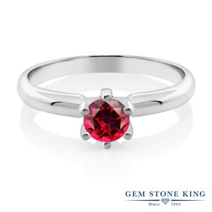 Gem Stone King 0.65カラット 天然石 レッドトパーズ (スワロフスキー 天然石シリーズ) シルバー925 指輪 リング レディース 一粒 シンプル ソリティア 天然石 金属アレルギー対応 誕生日プレゼント