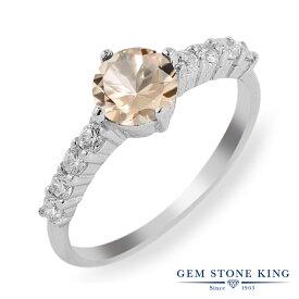 Gem Stone King 0.96カラット 天然 モルガナイト (ピーチ) シルバー925 指輪 リング レディース 天然石 3月 誕生石 金属アレルギー対応 誕生日プレゼント