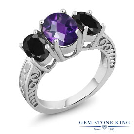 Gem Stone King 3.74カラット 天然 アメジスト 天然 ブラックサファイア シルバー925 指輪 リング レディース 大粒 シンプル スリーストーン 天然石 2月 誕生石 金属アレルギー対応 誕生日プレゼント