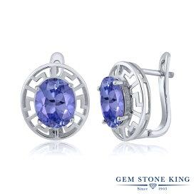 Gem Stone King 5.20カラット シルバー925 ピアス レディース 大粒 グリーク キー シンプル ハギー フープ 天然石 金属アレルギー対応 誕生日プレゼント