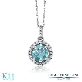 Gem Stone King 1.37カラット 天然石 ブルージルコン 天然 ダイヤモンド 14金 ホワイトゴールド(K14) ネックレス ペンダント レディース 大粒 天然石 12月 誕生石 金属アレルギー対応 誕生日プレゼント