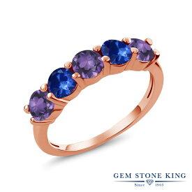 Gem Stone King 0.93カラット 天然 アメジスト 天然 サファイア シルバー925 ピンクゴールドコーティング 指輪 リング レディース 小粒 ハーフエタニティ 天然石 2月 誕生石 金属アレルギー対応 結婚指輪 ウェディングバンド