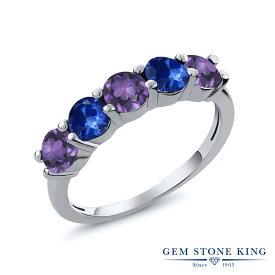 Gem Stone King 0.93カラット 天然 アメジスト 天然 サファイア シルバー925 指輪 リング レディース 小粒 ハーフエタニティ 天然石 2月 誕生石 金属アレルギー対応 結婚指輪 ウェディングバンド
