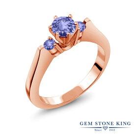 【10%OFF】 Gem Stone King 0.62カラット 天然石 タンザナイト 指輪 リング レディース シルバー925 ピンクゴールド 加工 小粒 スリーストーン シンプル 12月 誕生石 金属アレルギー対応