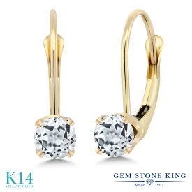 Gem Stone King 0.66カラット 天然 トパーズ (無色透明) 14金 イエローゴールド(K14) ピアス レディース 小粒 シンプル ぶら下がり レバーバック 天然石 誕生石 金属アレルギー対応 誕生日プレゼント