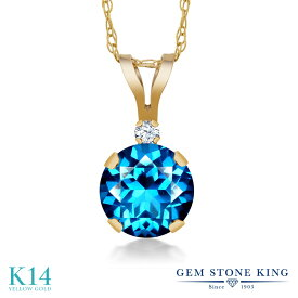 Gem Stone King 1.02カラット 天然石 カシミアブルートパーズ (スワロフスキー 天然石シリーズ) 合成ホワイトサファイア (ダイヤのような無色透明) 14金 イエローゴールド(K14) ネックレス ペンダント レディース 大粒 シンプル プレゼント 女性 彼女 誕生日 クリスマス