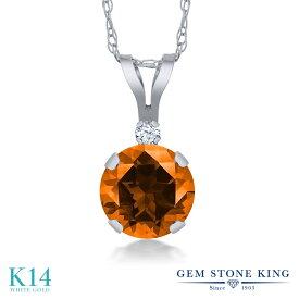 Gem Stone King 1.02カラット 天然石 トパーズ ポピー (スワロフスキー 天然石シリーズ) 合成ホワイトサファイア (ダイヤのような無色透明) 14金 ホワイトゴールド(K14) ネックレス ペンダント レディース 大粒 シンプル プレゼント 女性 彼女 誕生日 クリスマス