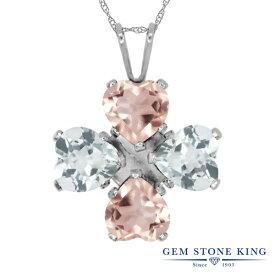 Gem Stone King 3.4カラット 天然 ローズクォーツ 天然 スカイブルートパーズ シルバー925 ネックレス ペンダント レディース 天然石 金属アレルギー対応 誕生日プレゼント