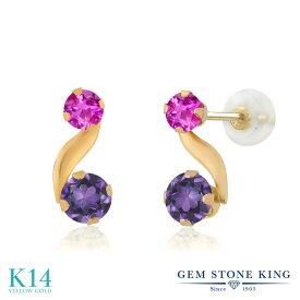 Gem Stone King 0.74カラット 天然 アメジスト ピンクサファイア 14金 イエローゴールド(K14) ピアス レディース 小粒 スタッド 天然石 2月 誕生石 金属アレルギー対応 誕生日プレゼント