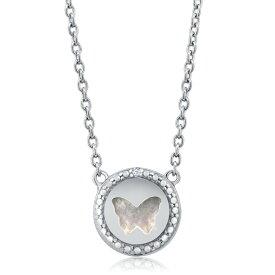 Gem Stone King パール(真珠母) 天然ダイヤモンド バタフライ シルバー925(純銀) ネックレス レディース パール 小粒 バタフライ シンプル 金属アレルギー対応 誕生日プレゼント