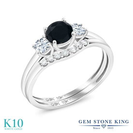Gem Stone King 0.79カラット 天然ブラックオニキス 合成ホワイトサファイア(ダイヤのような無色透明) 合成ダイヤモンド 10金 ホワイトゴールド(K10) 指輪 リング レディース 小粒 スリーストーン 天然石 誕生石 金属アレルギー対応 誕生日プレゼント