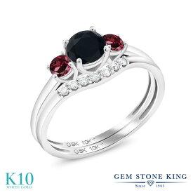 Gem Stone King 0.77カラット 天然ブラックオニキス 天然ロードライトガーネット 合成ダイヤモンド 10金 ホワイトゴールド(K10) 指輪 リング レディース 小粒 スリーストーン 天然石 誕生石 金属アレルギー対応 誕生日プレゼント