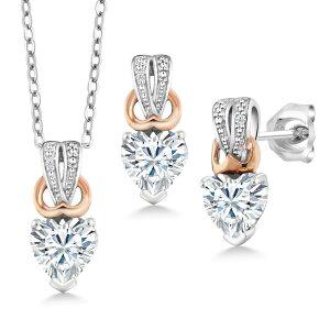 1.52カラット Forever Brilliant モアッサナイト Charles & Colvard 天然 ダイヤモンド シルバー925 ペンダント&ピアスセット レディース モアサナイト 小粒 金属アレルギー対応 誕生日プレゼント