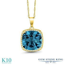 Gem Stone King 8.54カラット 天然 ロンドンブルートパーズ 天然 ダイヤモンド 10金 イエローゴールド(K10) ネックレス ペンダント レディース 大粒 大ぶり 天然石 11月 誕生石 金属アレルギー対応 誕生日プレゼント