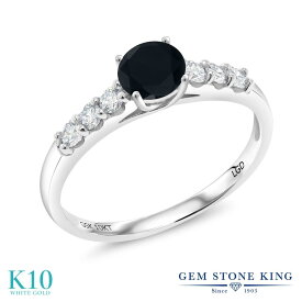 Gem Stone King 0.73カラット 天然ブラックオニキス 10金 ホワイトゴールド(K10) 指輪 リング レディース 小粒 マルチストーン 天然石 誕生石 金属アレルギー対応 誕生日プレゼント