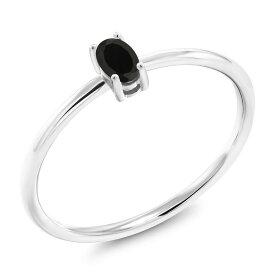 Gem Stone King 0.23カラット 天然ブラックオニキス 10金 ホワイトゴールド(K10) 指輪 リング レディース 小粒 一粒 シンプル ソリティア 天然石 誕生石 金属アレルギー対応 誕生日プレゼント