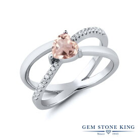 Gem Stone King 0.88カラット 天然ローズクォーツ シルバー925 指輪 リング レディース クロス クロスオーバー 天然石 金属アレルギー対応 誕生日プレゼント