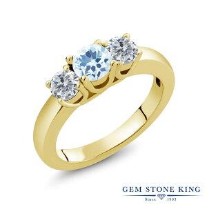 1カラット 天然 スカイブルートパーズ 指輪 レディース リング ダイヤモンド イエローゴールド 加工 シルバー925 ブランド おしゃれ 3連 水色 小粒 シンプル スリーストーン 天然石 11月 誕生