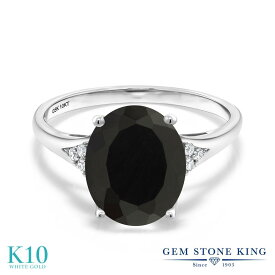 Gem Stone King 3.07カラット 天然ブラックオニキス 10金 ホワイトゴールド(K10) 天然ダイヤモンド 指輪 リング レディース 大粒 ソリティア 天然石 誕生石 金属アレルギー対応 誕生日プレゼント