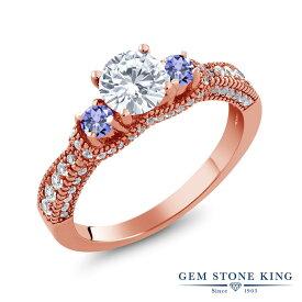 【10%OFF】 Gem Stone King 1.79カラット Forever Classic モアサナイト Charles & Colvard 天然石 タンザナイト 指輪 リング レディース シルバー925 ピンクゴールド 加工 モアッサナイト 小粒 スリーストーン 金属アレルギー対応
