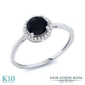 Gem Stone King 0.92カラット 天然ブラックオニキス 10金 ホワイトゴールド(K10) 天然ダイヤモンド 指輪 リング レディース ヘイロー 天然石 誕生石 金属アレルギー対応 誕生日プレゼント