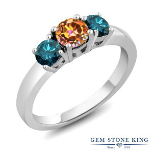 1.54カラット 天然石 エクスタシーミスティックトパーズ 指輪 レディース リング 天然 ブルーダイヤモンド シルバー925 ブランド おしゃれ 3連 大粒 シンプル スリーストーン プレゼント 女性