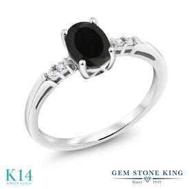 Gem Stone King 0.83カラット 天然ブラックオニキス 14金 ホワイトゴールド(K14) 天然ダイヤモンド 指輪 リング レディース 一粒 ソリティア 天然石 誕生石 金属アレルギー対応 婚約指輪 エンゲージリング