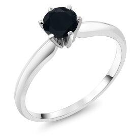Gem Stone King 0.48カラット 天然ブラックオニキス 14金 ホワイトゴールド(K14) 指輪 リング レディース 小粒 一粒 シンプル ソリティア 天然石 誕生石 金属アレルギー対応 婚約指輪 エンゲージリング