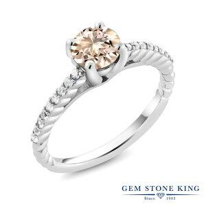 1.33カラット 天然 モルガナイト (ピーチ) 指輪 レディース リング 合成ダイヤモンド シルバー925 ブランド おしゃれ ロープ 大粒 細身 ソリティア 天然石 3月 誕生石 婚約指輪 エンゲージリン