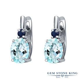 Gem Stone King 4.10カラット 天然 スカイブルートパーズ 天然 サファイア シルバー925 ピアス レディース 大粒 レバーバック 天然石 誕生石 金属アレルギー対応 誕生日プレゼント
