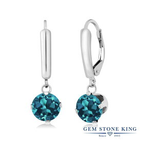 Gem Stone King 3.4カラット 天然 ロンドンブルートパーズ シルバー925 ピアス レディース 大粒 シンプル レバーバック 天然石 誕生石 金属アレルギー対応 誕生日プレゼント
