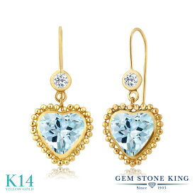 Gem Stone King 4.04カラット 天然 スカイブルートパーズ 天然 トパーズ (無色透明) 14金 イエローゴールド(K14) ピアス レディース 大粒 レバーバック 天然石 誕生石 金属アレルギー対応 誕生日プレゼント