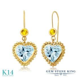 Gem Stone King 4.03カラット 天然 スカイブルートパーズ 天然 イエローサファイア 14金 イエローゴールド(K14) ピアス レディース 大粒 レバーバック 天然石 誕生石 金属アレルギー対応 誕生日プレゼント