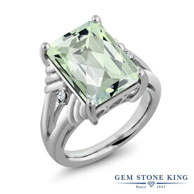 Gem Stone King 6.63カラット 天然 プラジオライト (グリーンアメジスト) 合成ホワイトサファイア (ダイヤのような無色透明) シルバー925 指輪 リング レディース 大粒 シンプル 天然石 金属アレルギー対応 誕生日プレゼント