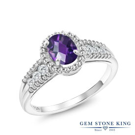 Gem Stone King 0.99カラット 天然 アメジスト 合成ホワイトサファイア (ダイヤのような無色透明) シルバー925 指輪 リング レディース ヘイロー 天然石 2月 誕生石 金属アレルギー対応 誕生日プレゼント