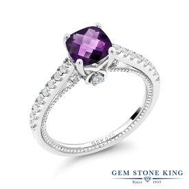 Gem Stone King 0.97カラット 天然 アメジスト 合成ホワイトサファイア (ダイヤのような無色透明) シルバー925 指輪 リング レディース マルチストーン 天然石 2月 誕生石 金属アレルギー対応 誕生日プレゼント