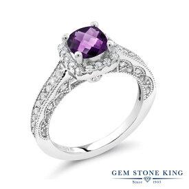 Gem Stone King 1.28カラット 天然 アメジスト 合成ホワイトサファイア (ダイヤのような無色透明) シルバー925 指輪 リング レディース マルチストーン 天然石 2月 誕生石 金属アレルギー対応 誕生日プレゼント