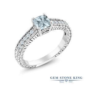 Gem Stone King 0.65カラット 天然 アクアマリン 合成ホワイトサファイア (ダイヤのような無色透明) シルバー925 指輪 リング レディース 小粒 マルチストーン 天然石 3月 誕生石 金属アレルギー対応 婚約指輪 エンゲージリング
