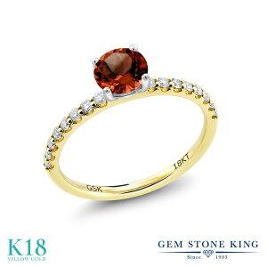 1.24カラット 天然 ガーネット 指輪 レディース リング 合成ダイヤモンド 18金 イエローゴールド K18 ブランド おしゃれ 赤 大粒 細身 マルチストーン 天然石 1月 誕生石 婚約指輪 エンゲージリ